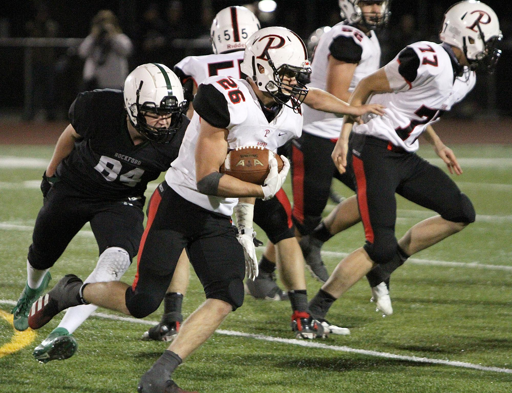 Pierz senior running back Mike Leidenfrost ran for 161 yards and three TDs as Pierz rallied on the road at Rockford for a 32-13 victory Friday night. Pierz, ranked No. 4 in the Class 3A AP statewide poll, improves to 5-0. Photo by Drew Herron, SportsEngin