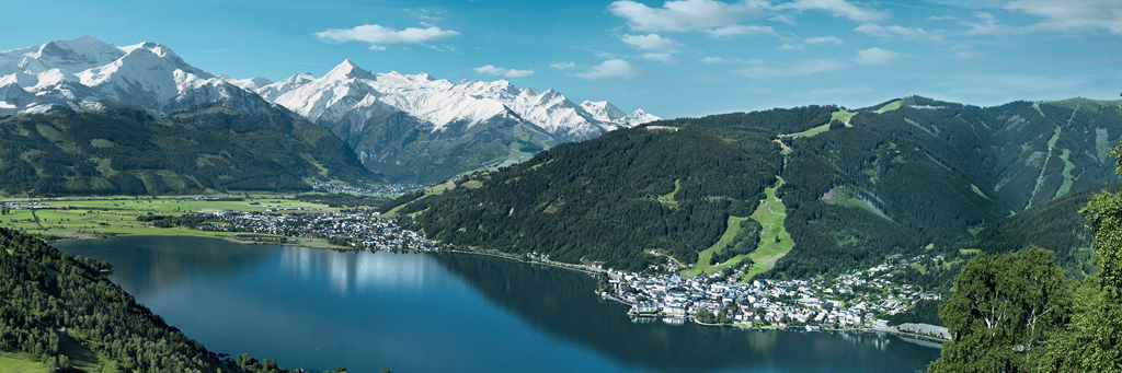 Austria's majestic scenery with sparkling Lake Zell in the middle and glacier-covered and forest-covered mountains as backdrop at IRONMAN 70.3 Zell am See-Kaprun