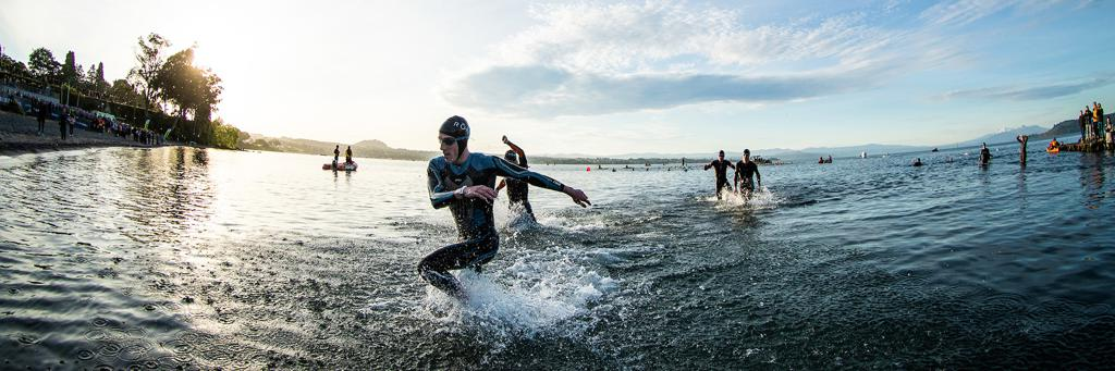 Swimmers exit Lake Taupo New Zealand