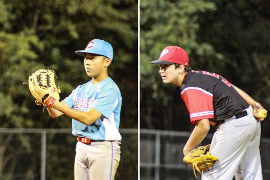 Nathan Choi (left) pitched five shutout innings while Owen Wojociechowski (right) did the same. Photos by Kyle Corwin.