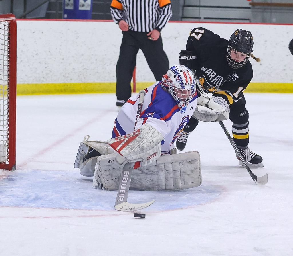 Stars goaltender Maggie Vance sends the puck to the corner. Vance tallied 24 saves in Gentry Academy's 3-1 win over Warroad, ranked No. 1 in the Class 1A Let's Play Hockey poll. Photo by Cheryl A. Myers, SportsEngine