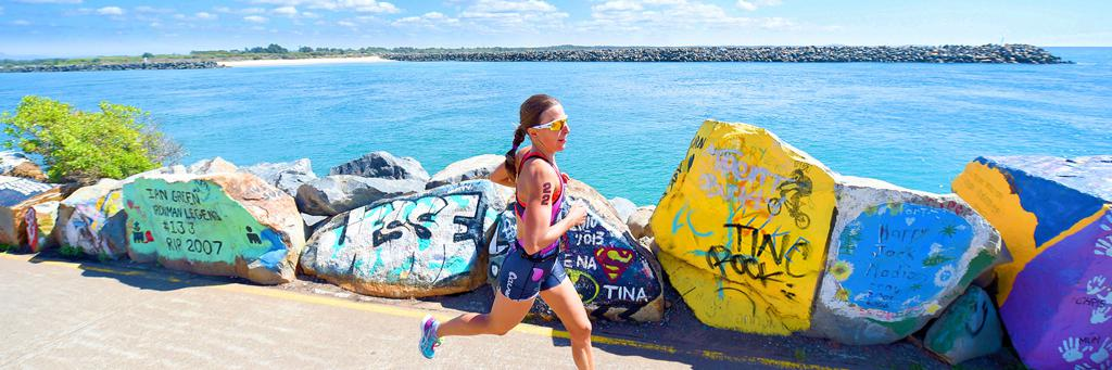 Runner participating in IRONMAN 70.3 Port Macquarie