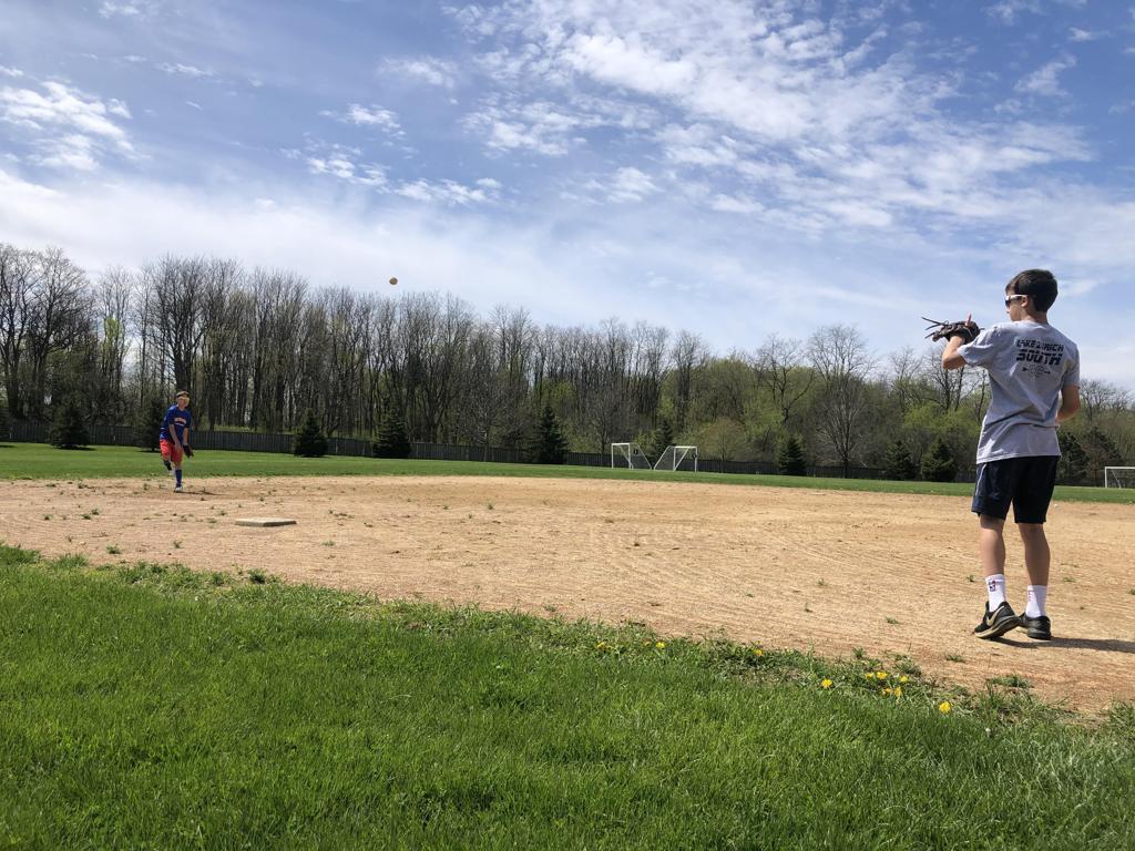 Zach and CJ play catch