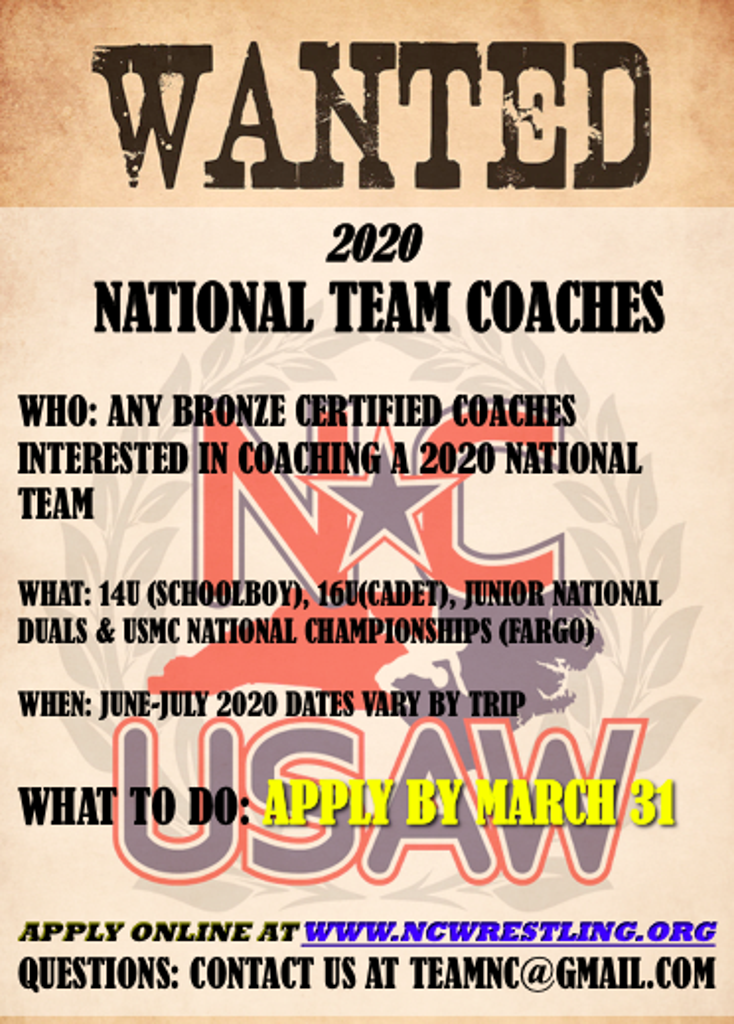 2020 National Team Coaches Wanted Poster