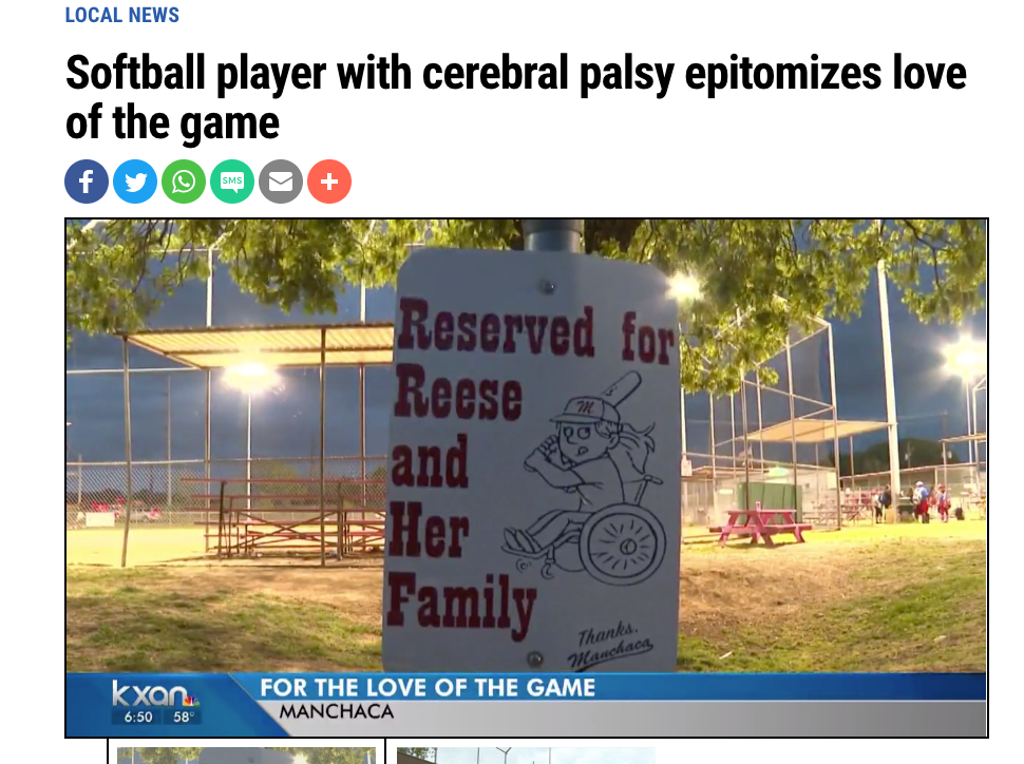 Softball Player with disability plays like any other kid