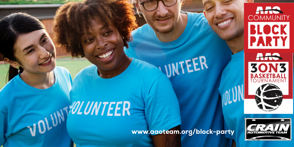 volunteer at the block party and 3 on 3!