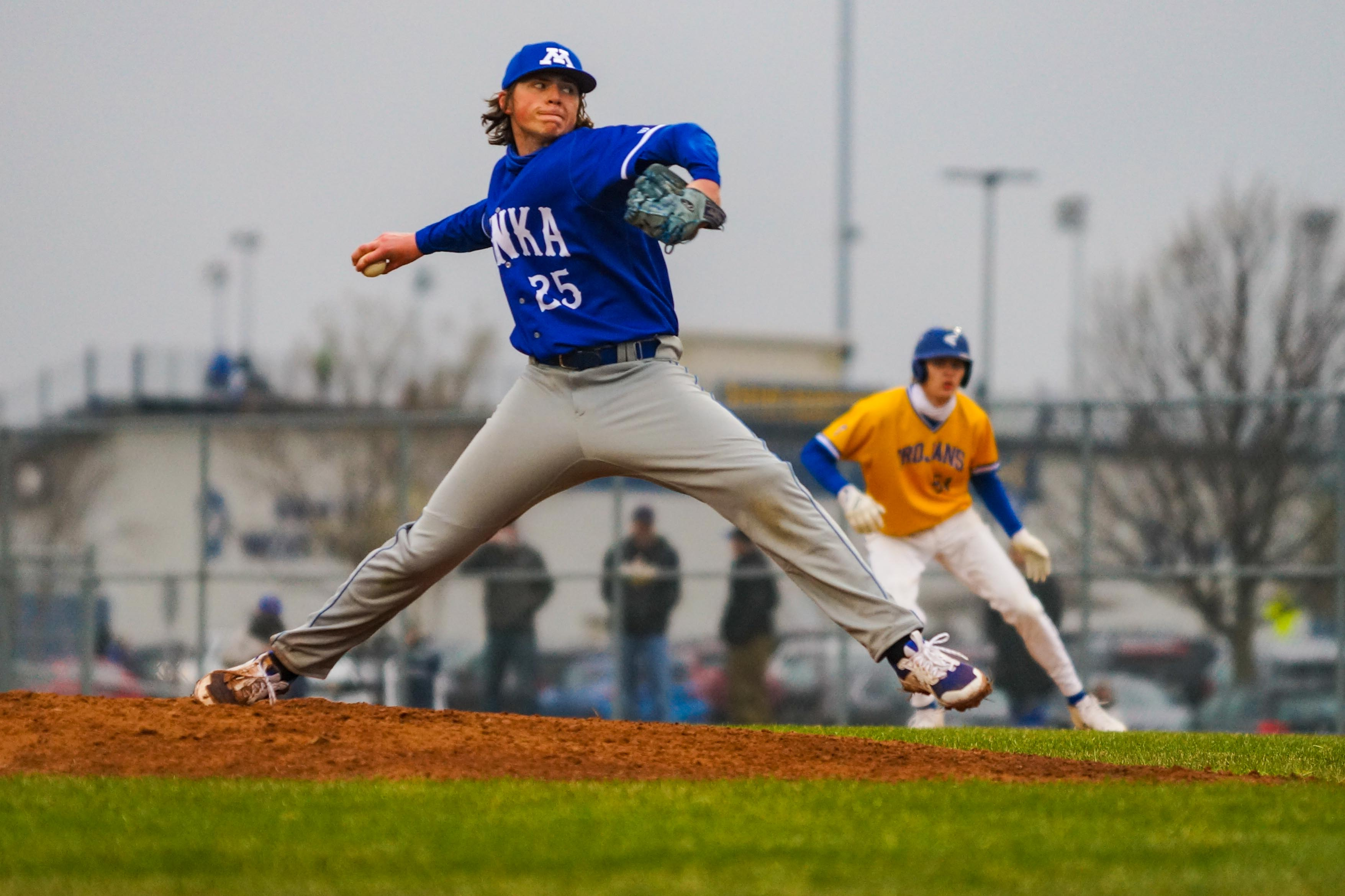 Minnetonka pitcher Fritz Meyer faced an undefeated Wayzata team Friday, walking the first four batters he faced before settling in after a three-run first inning. Photo by Korey McDermott, SportsEngine