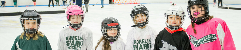 Young Girls at a Sand Sharks Learn to Play Hockey Clinic