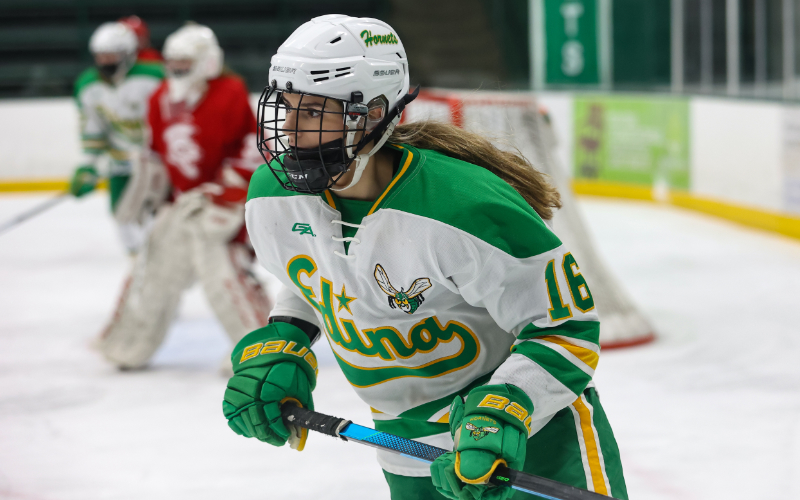 Edina's Emma Conner skates in a game against Benilde St. Margaret's on Feb. 25. Conner was one of four Hornets to make the 2021 Class 2A all-state team. Photo by Cheryl A. Myers, SportsEngine