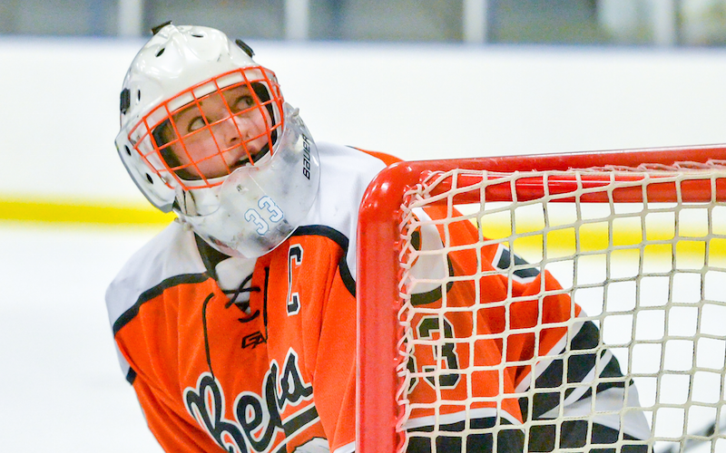 White Bear Lake goalie Calla Frank (pictured) is one of two goalies in the Class 2A all-state team, and one of three Bears honored. Frank was also named 2019 Senior Goalie of the Year. Photo by Earl J. Ebensteiner, SportsEngine