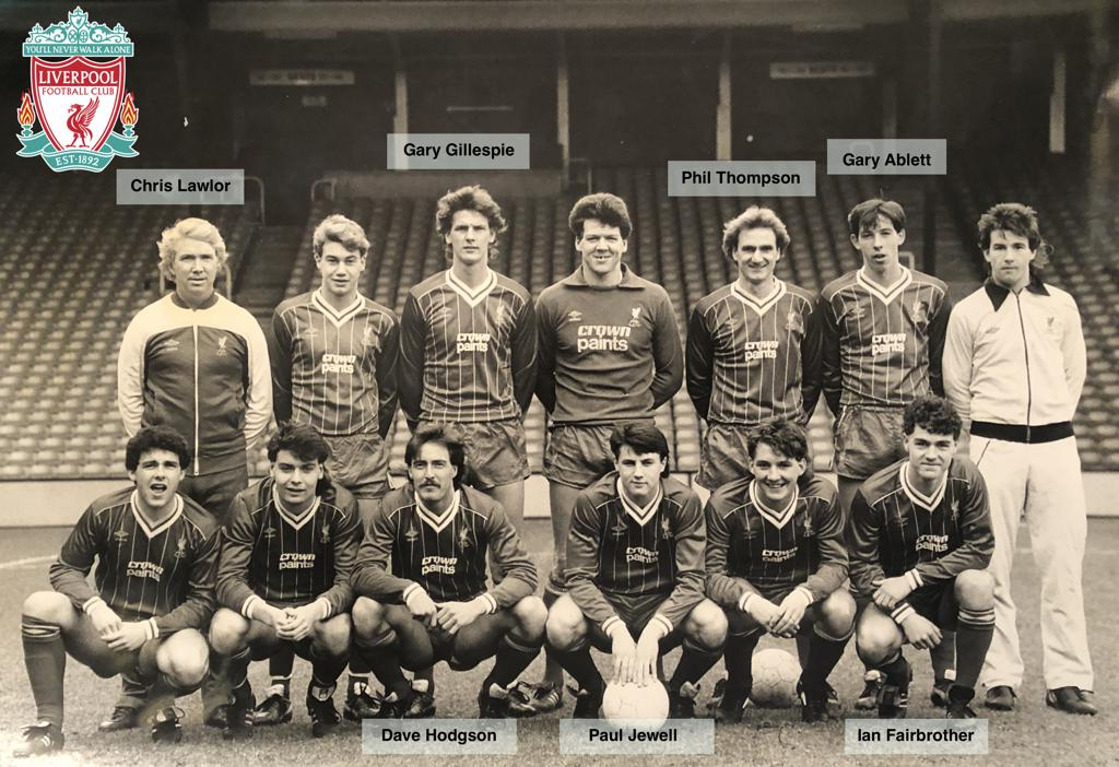 Ian Fairbrother (front right) pictured at Anfield in his Liverpool playing days with legends Chris Lawler (back Left), Gary Gillespie (back row, third from left), Phil Thompson (former England and Liverpool Captain (back row - Third from the right), Gary
