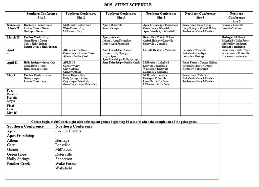 2019 stunt schedule