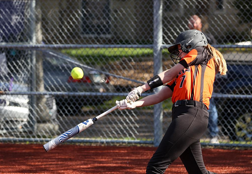 Freshman catcher Heidi Barber connects for a single in the fourth inning. Barber added a home run in the sixth inning to lead White Bear Lake to a 5-2 win over Cretin-Derham Hall. Photo by Cheryl A. Myers, SportsEngine