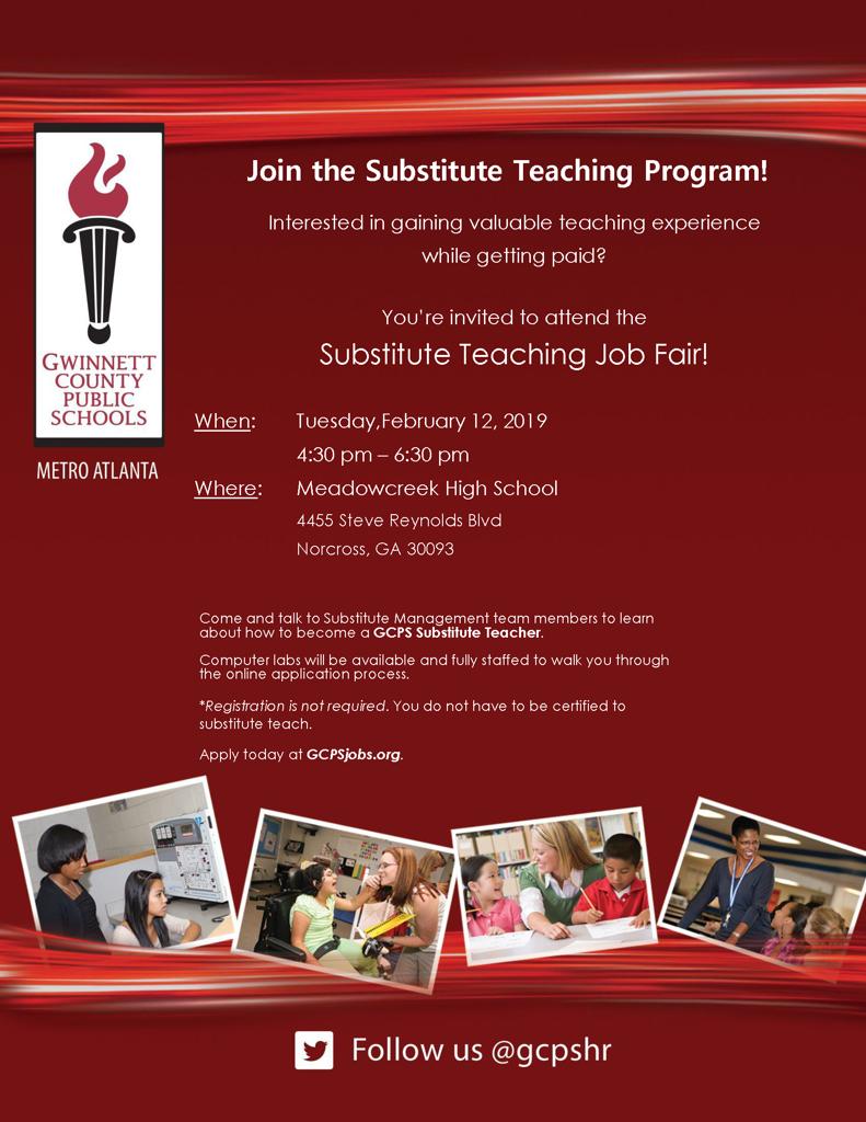 Substitute Teacher Job Fair at Meadowcreek HS February 12, 2019