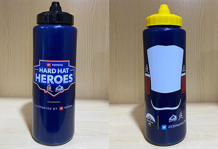 Each player will receive his or her own water bottle that is customizable by writing their name or number on it along with a cap color based on their hockey association colors.