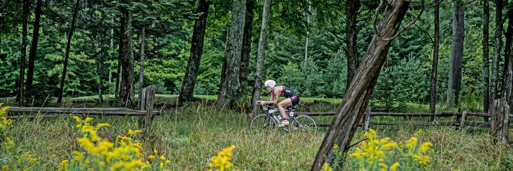 Biker participating in IRONMAN 70.3 Mont-Tremblant