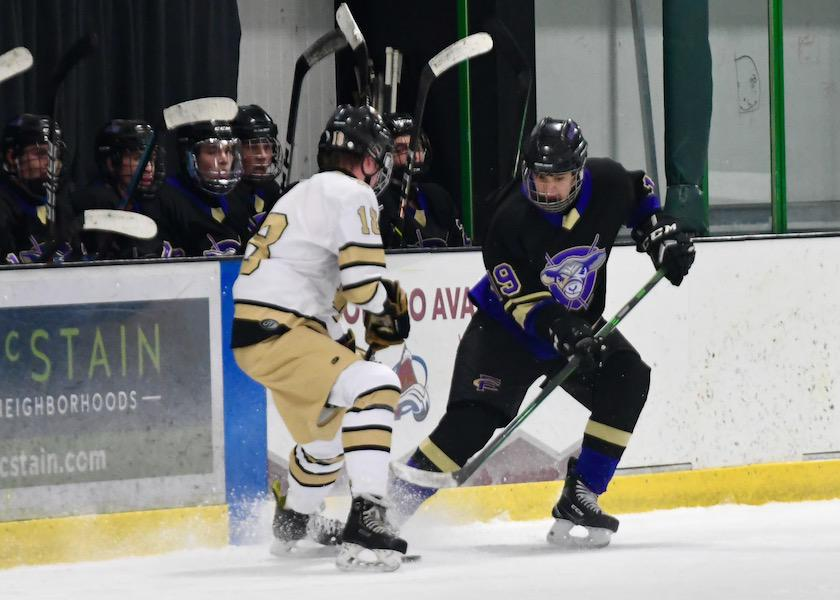 Fort Collins junior Jason Campos tallied a goal and assist in the final period of the Lambkins' 3-0 victory over Monarch on Saturday at The Sport Stable in Superior. Photo by Steven Robinson, SportsEngine