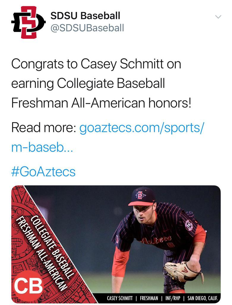 Former CA Bear Casey Schmitt honored as one of the Nation's Top Freshman!