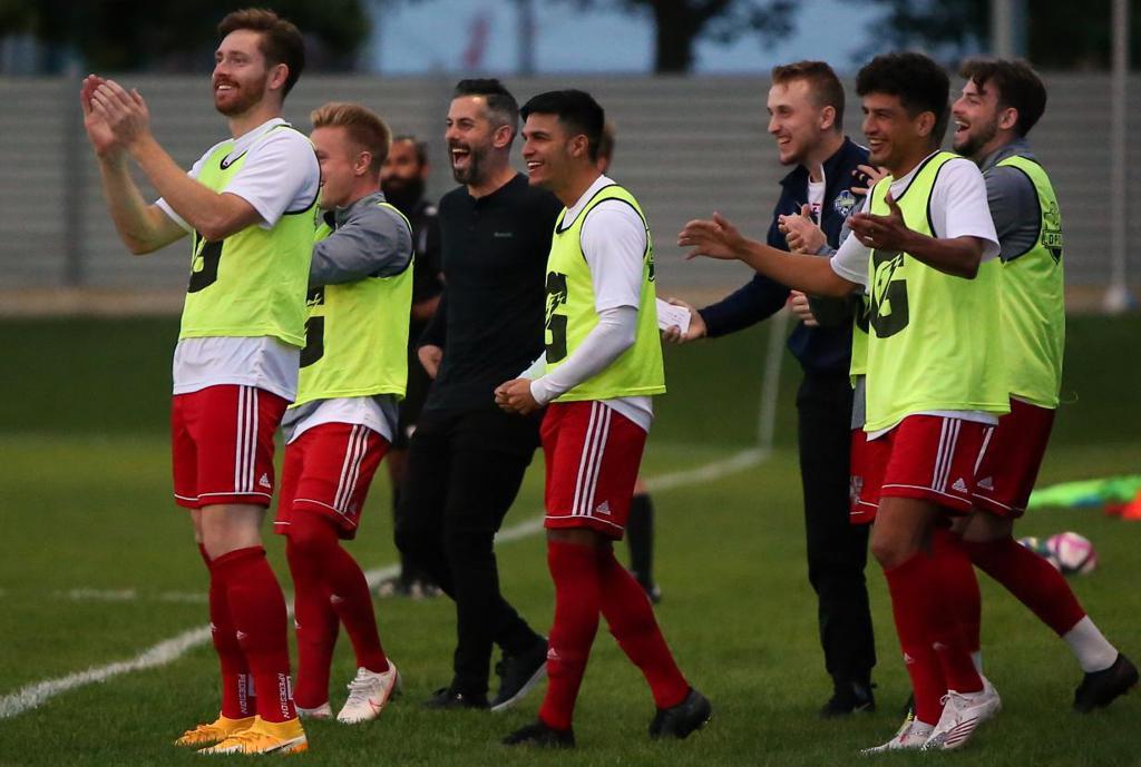 FC London celebrates a goal. (Paul Hendren / League1 Ontario)