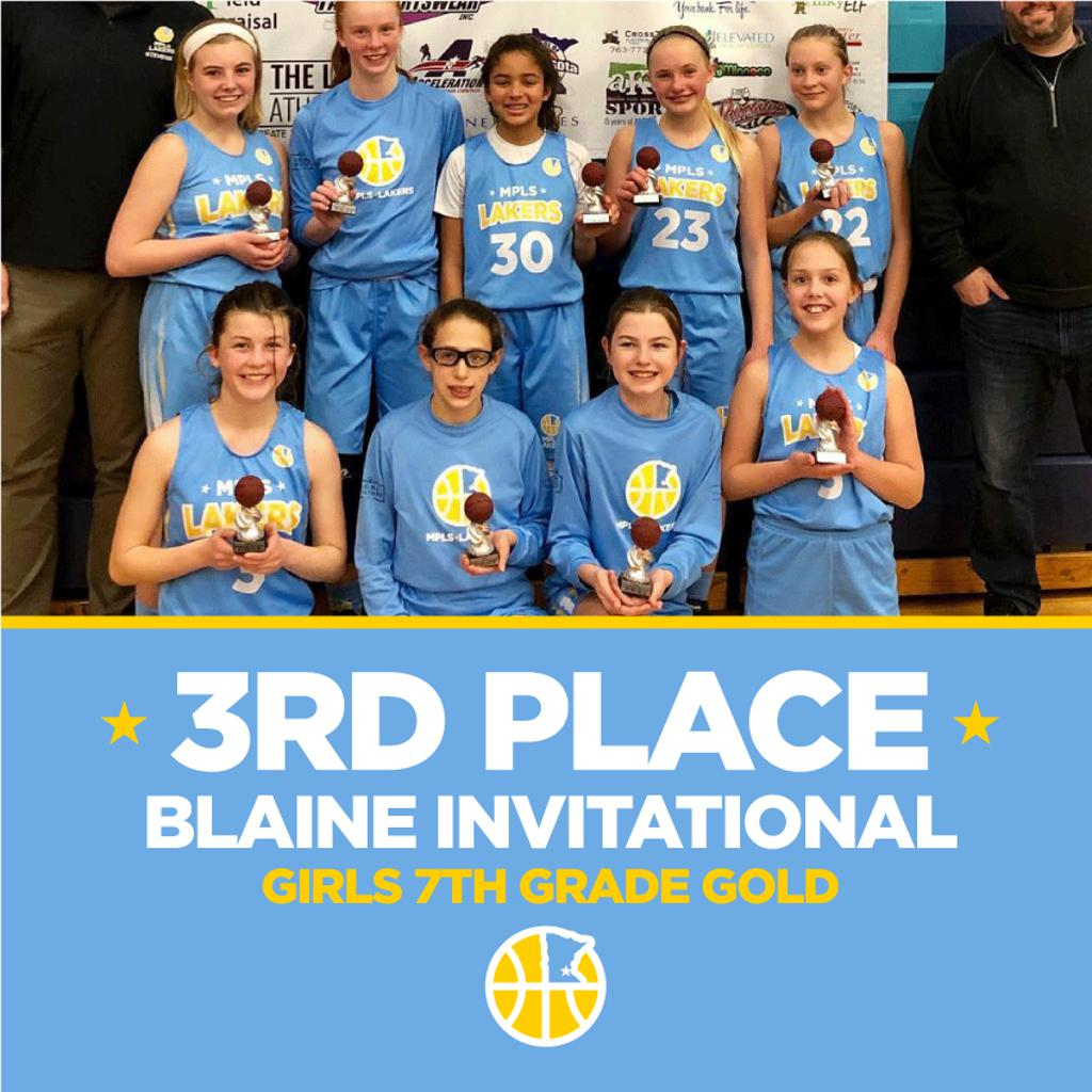 Minneapolis Lakers Girls 7th Grade Gold pose after taking 3rd Place at the Blaine Invitational in Blaine, MN