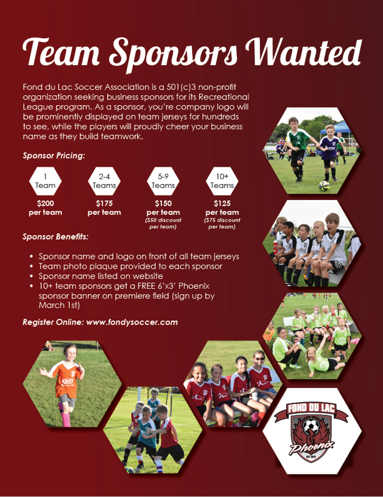 Rec League Team Sponsors Needed