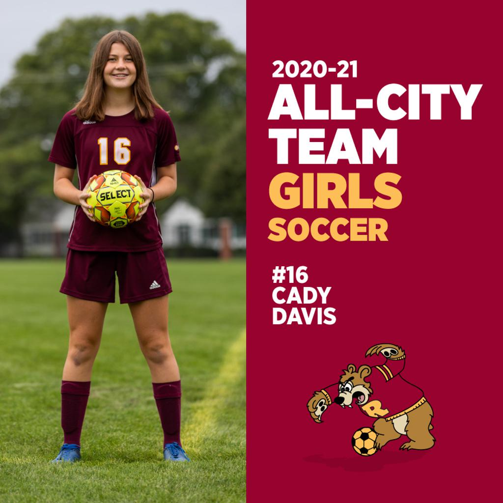 Congrats to #16 Cady Davis for being named to the All-City Girls Soccer Team. What a great season Cady! ⚽️