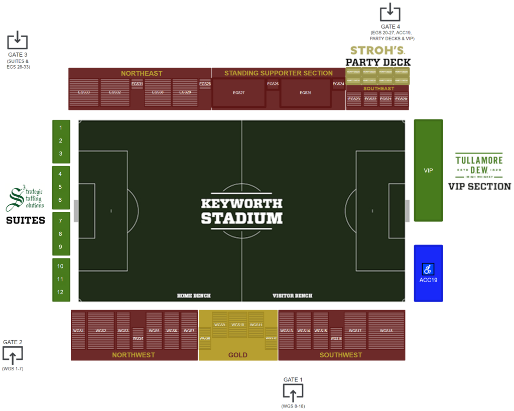 The Keyworth Stadium Guide. Entrances are on Roosevelt Street and supporters with gold admission can use the entrance on Goodson St