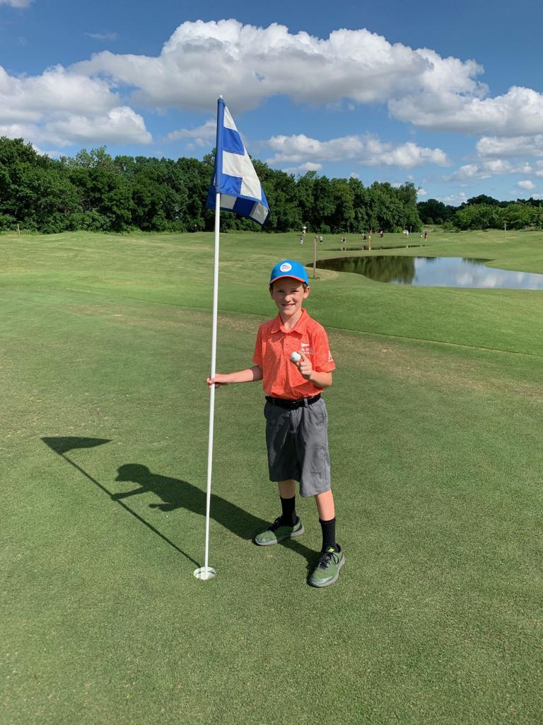 Nine-year-old Dylan Hostutler of Keller, Texas, aced Hole No. 5 from 95 yards with his 3 wood during a PGA Jr. League match with Team Stars of The First Tee of Fort Worth PGA Jr. League!