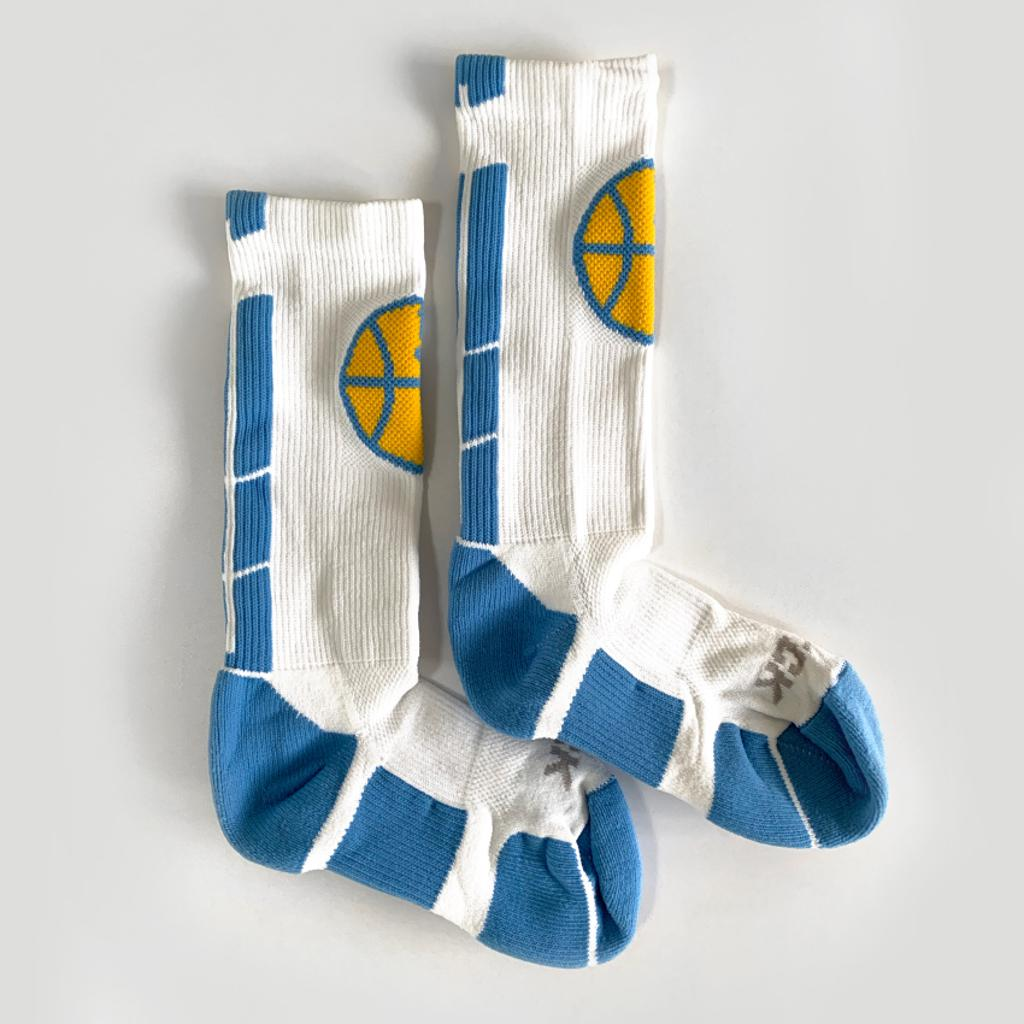 White Mpls Lakers athletic socks with in-knit logo
