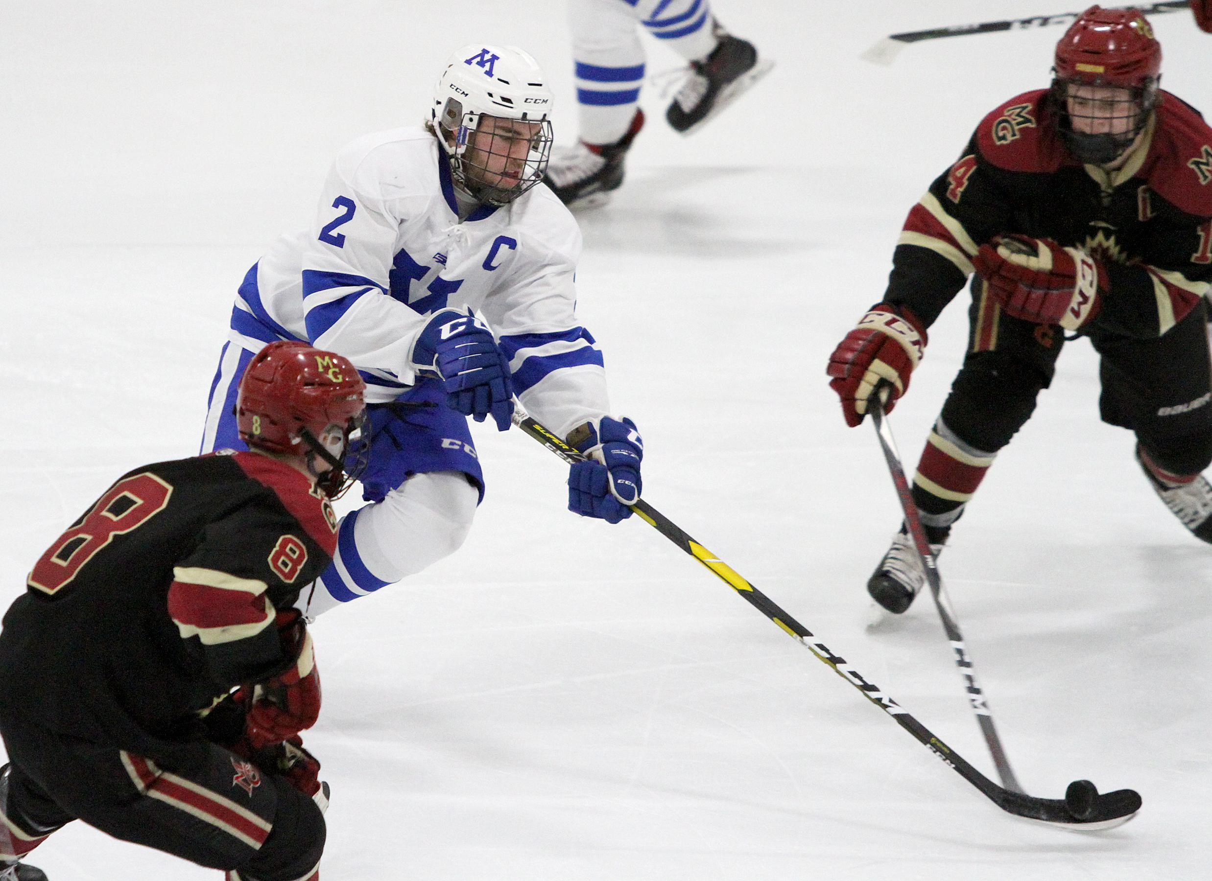 Minnetonka senior captain Grant Docter finished with a goal and an assist in the Skippers' 5-2 win over Maple Grove. Photo by Drew Herron, SportsEngine