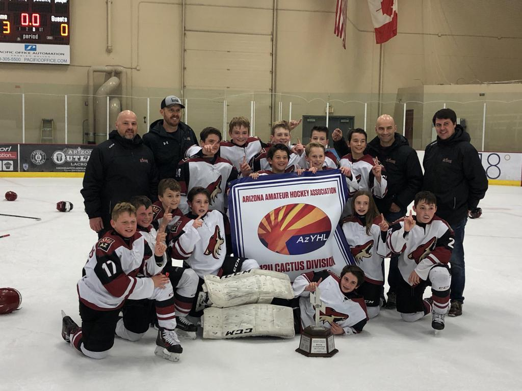 CONGRATULATIONS TO THE JR COYOTES 11U Elite team the 2018-19 ARIZONA TRAVEL HOCKEY STATE CHAMPIONS - 12U Cactus Division