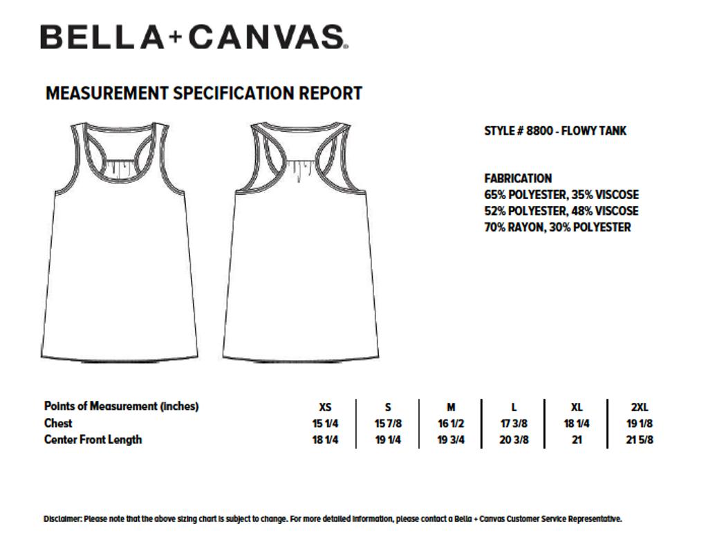 Bella Flowy Racerback Tank Size Chart