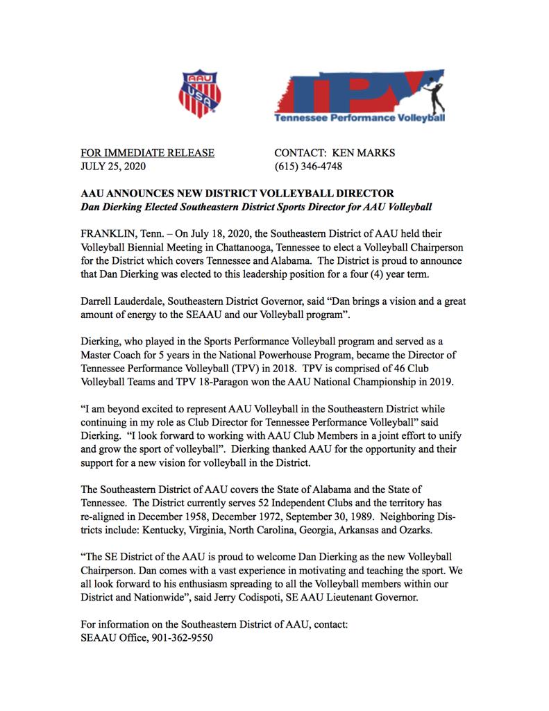 AAU Director Press Release