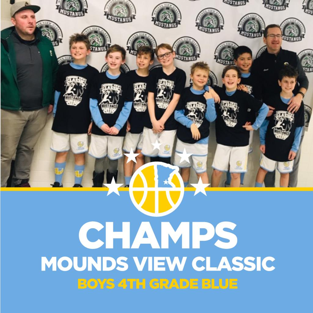 Minneapolis Lakers Boys 4th Grade Blue pose with their T-Shirts after becoming the Champions at Mounds View Classic in Mounds View, MN