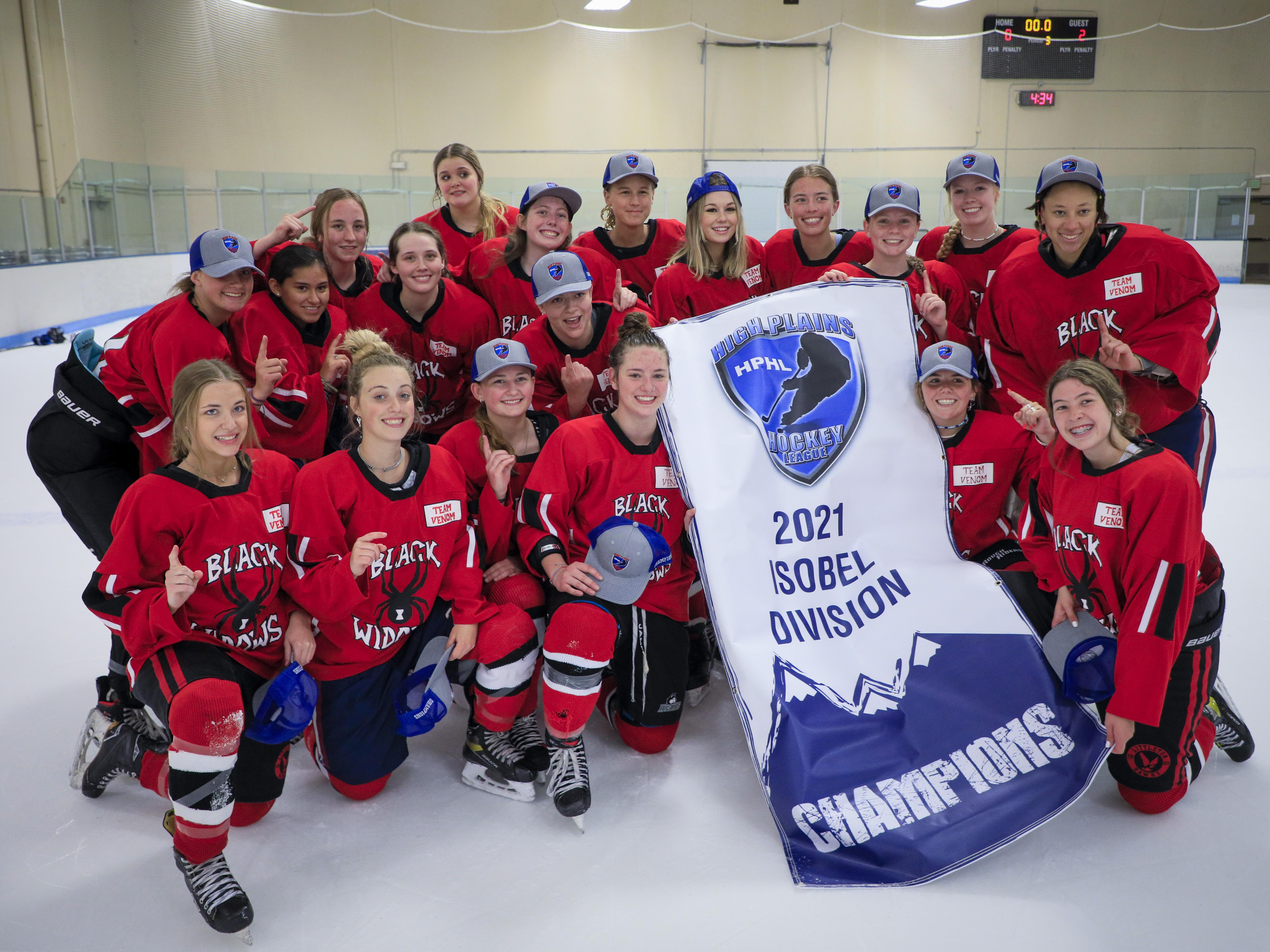 The Black Widows celebrate their first HPHL Isobel Division Championship since 2014 after beating the Coyotes 2-0 at The Edge Ice Arena on Sunday, June 6. Photo submitted
