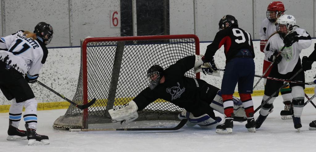 Ice Wolves forward Angie Tulette scores the game winner against the Black Widows
