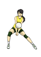 animated volleyball player hitting the ball