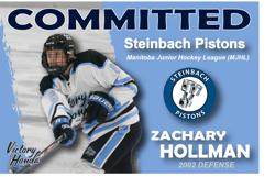 ZACHARY HOLLMAN COMMITS TO STEINBACH PISTONS MJHL
