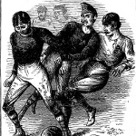 Drawing of what a soccer match in the late 1800s might have looked like. Image courtesy of Goal-Post.