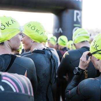 Triathletes at swim start