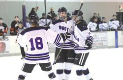 Justin Laven celebrates his first period goal with Dylan Kumlin & Wilson Anderle
