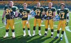 St. Albert Senior Bowl All-Stars - Jack Hanna, Tyler Moroz, Jacob Neuls from Bellerose and Tyler Turner & Cory Knott from Paul Kane
