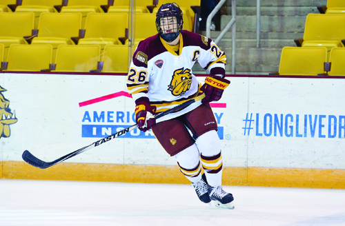 University of Minnesota Duluth senior forward Adam Krause is...able to balance hockey, schoolwork, leadership and community involvement, all at a high level. The Hermantown...native has also helped the Bulldogs to an 11-5-0 record and a Top 10 National Ra