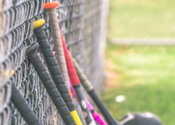 Baseball bats up against a metal fence