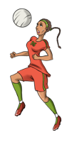 animated girls soccer player with the ball