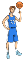 Animated basketball player holding the ball