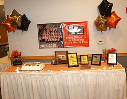 The award table at the water polo team banquet. ~ Photo by Tracy Saur